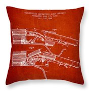 Winchester Firearm Patent Drawing From 1877 - Red Throw Pillow