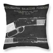 Winchester Firearm Patent Drawing From 1888- Dark Throw Pillow