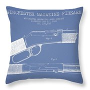 Winchester Firearm Patent Drawing From 1888- Light Blue Throw Pillow