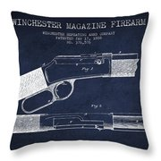 Winchester Firearm Patent Drawing From 1888- Navy Blue Throw Pillow