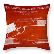 Winchester Firearm Patent Drawing From 1888- Red Throw Pillow
