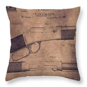 Winchester Rifle Patent Throw Pillow
