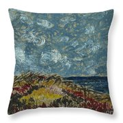Wind Blowing The Clouds Around Over The Sea. Rincon Ventura California Throw Pillow