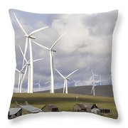 Wind Farm By Cattle Ranch In Washington State Throw Pillow