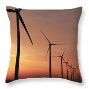Wind Farm Sunrise Throw Pillow