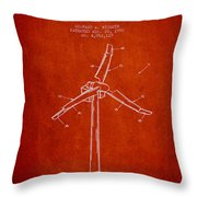 Wind Generator Break Mechanism Patent From 1990 - Red Throw Pillow