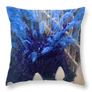 Wind In The Grass - Blue Throw Pillow