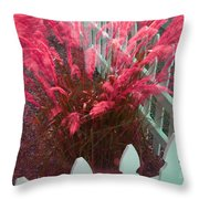 Wind In The Grass - Red Throw Pillow