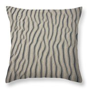 Wind Makes Patterns On The Beach Throw Pillow