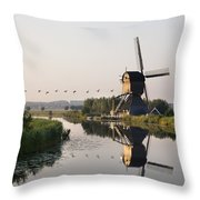 Wind Mill On A Canal, Holland Throw Pillow