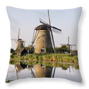 Wind Mills Next To Canal, Holland Throw Pillow