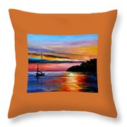 Wind Of Hope - Palette Knife Oil Painting On Canvas By Leonid Afremov Throw Pillow