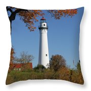 Wind Point Lighthouse 74 Throw Pillow