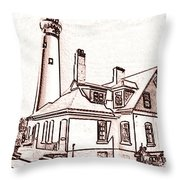 Wind Point Lighthouse Drawing Mode 1 Throw Pillow