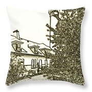 Wind Point Lighthouse Drawing Mode 2 Throw Pillow