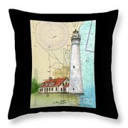 Wind Pt Lighthouse Wi Nautical Chart Map Art Cathy Peek Throw Pillow