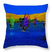 Wind Surf Lessons Throw Pillow