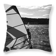 Wind Surfer II Bw Throw Pillow