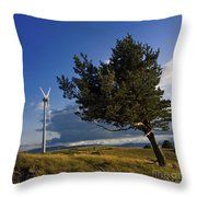 Wind Turbine And Tree On The Plateau Of  Cezallier. Auvergne. France. Throw Pillow