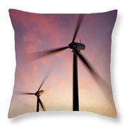 Wind Turbine Blades Spinning At Sunset Throw Pillow