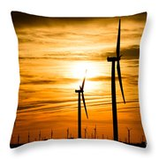 Wind Turbine Farm Picture Indiana Sunrise Throw Pillow