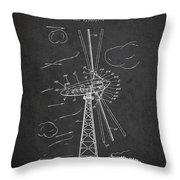 Wind Turbine Patent From 1944 - Dark Throw Pillow