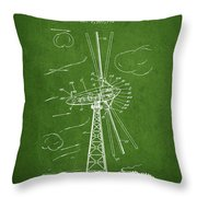 Wind Turbine Patent From 1944 - Green Throw Pillow