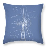 Wind Turbine Patent From 1944 - Light Blue Throw Pillow