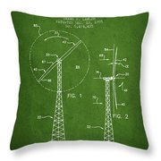 Wind Turbine Rotor Blade Patent From 1995 - Green Throw Pillow