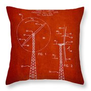 Wind Turbine Rotor Blade Patent From 1995 - Red Throw Pillow
