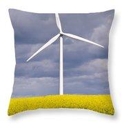 Wind Turbine With Rapeseed Throw Pillow