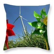Wind Turbines And Toys Throw Pillow