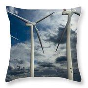 Wind Turbines Blue Sky Throw Pillow