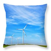 Wind Turbines Farm Throw Pillow