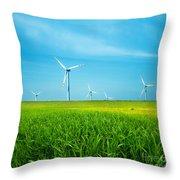 Wind Turbines On Green Field Throw Pillow