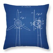 Wind Turbines Patent From 1984 - Blueprint Throw Pillow