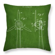 Wind Turbines Patent From 1984 - Green Throw Pillow