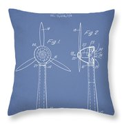 Wind Turbines Patent From 1984 - Light Blue Throw Pillow