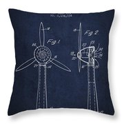 Wind Turbines Patent From 1984 - Navy Blue Throw Pillow