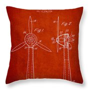 Wind Turbines Patent From 1984 - Red Throw Pillow