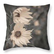 Windblown Wild Sunflowers Throw Pillow