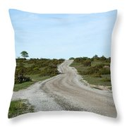 Winding Gravel Road Through A Landscape With Lots Of Junipers Throw Pillow