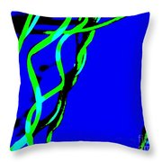 Winding Green And Blue Abstract Throw Pillow