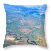 Winding River From The Seaplane In Katmai National Preserve-alaska Throw Pillow