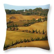 Winding Road And Cypress Trees In Tuscany 1 Throw Pillow