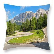 Winding Road To Pordoi Pass Throw Pillow