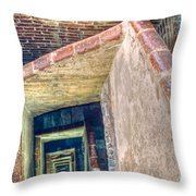 Winding Square Staircase Of Old Brick-walled Tower Throw Pillow