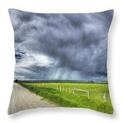 Windmill And Country Road With Storm Throw Pillow