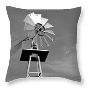 Windmill And Passing Plane Throw Pillow