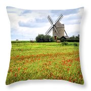 Windmill And Poppy Field In Brittany Throw Pillow